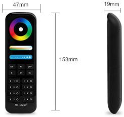 MiBoxer black 8-zone RGB+CCT remote control FUT089-B dimensions