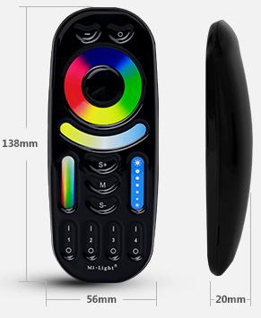 MiBoxer 4-zone RGB+CCT remote control FUT092-B handheld remote size