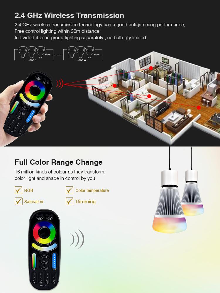 Mi-Light black 4-zone RGB+CCT remote control FUT092-B