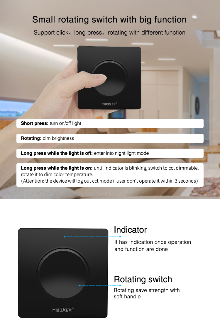 MiBoxer black rotating switch panel remote K1-B with magnetic wall holder