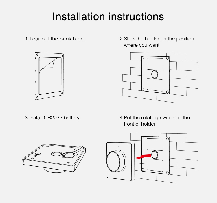 easy installation K1-B wall panel remote in black colour