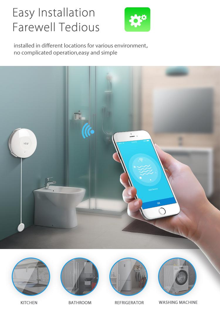 NEO WiFi smart alarm flood sensor easy installation farewell tedious kitchen bathroom washing machine refrigerator