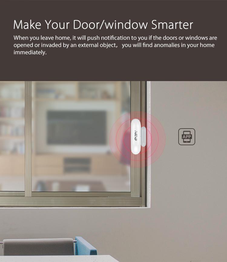 NEO WiFi smart door and window sensor make your door and window smarter