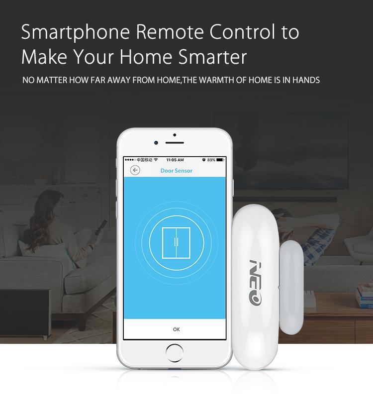 NEO WiFi smart door and window sensor smarphone app remote control far away from home