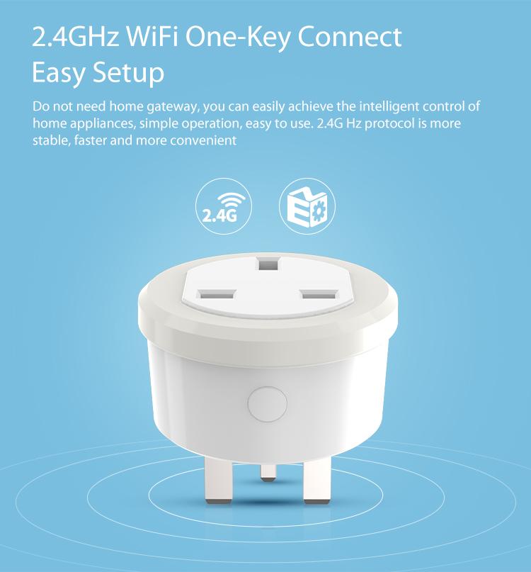 NEO WiFi smart UK power plug 2.4GHz WiFi one key connect easy setup no need for gateway