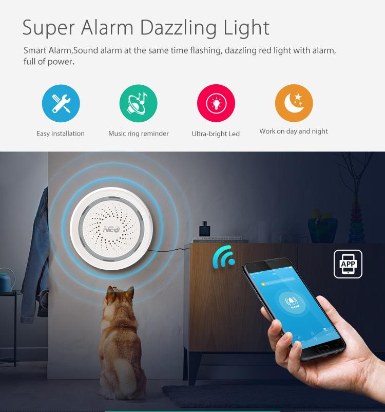 NEO WiFi smart alarm siren - super alarm dazziling light