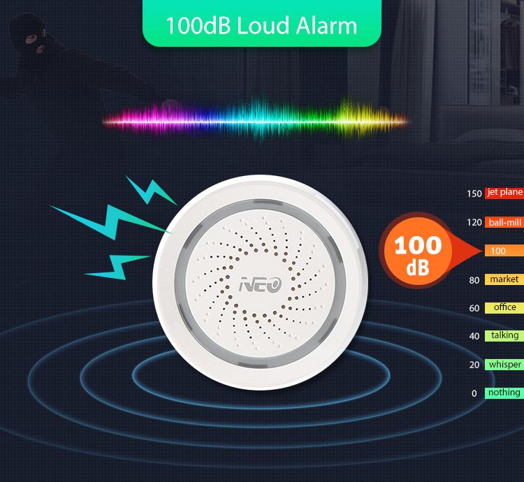 NEO WiFi smart alarm siren 100db loud alarm