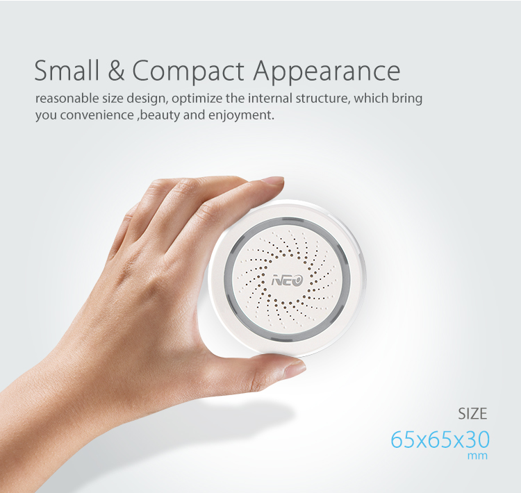 NEO WiFi smart alarm siren - small and compact appearance
