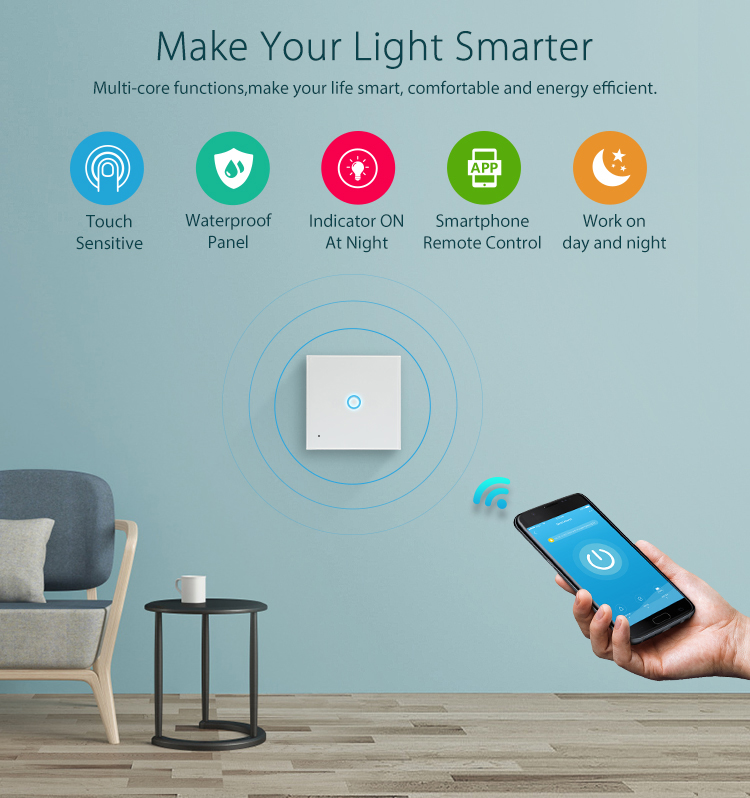 NEO WiFi smart light switch 1 gang multi-core functions make your life smart comfortable and energy efficient