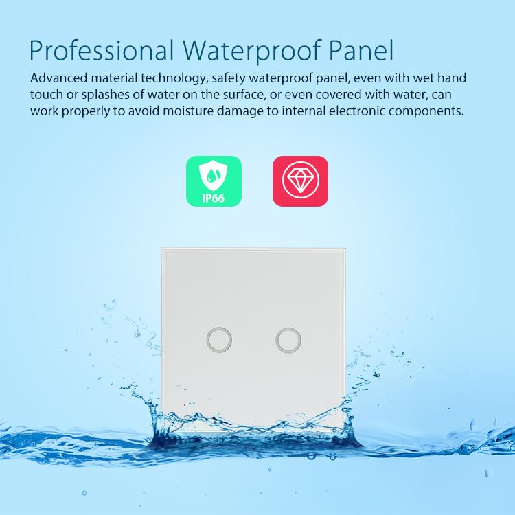 NEO WiFi smart light switch 2 gangs professional waterproof panel suitable for bathroom