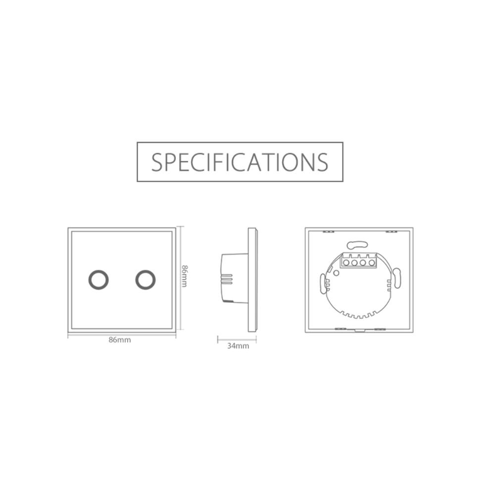 NEO WiFi smart light switch 2 gangs specification