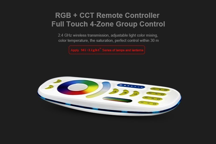 RGB+CCT remote controller full touch 4-zone group control