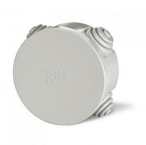 SCAME round surface junction box with cable sleeves 80x80x40 IP55
