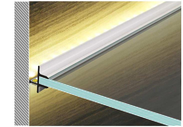 TOPMET raw aluminium glass LED profile TWIN8 silver - application