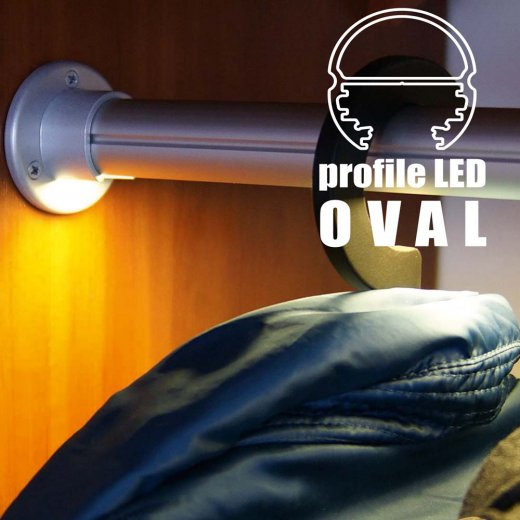 TOPMET anodised aluminium wardrobe LED profile OVAL20 BC silver application clothes