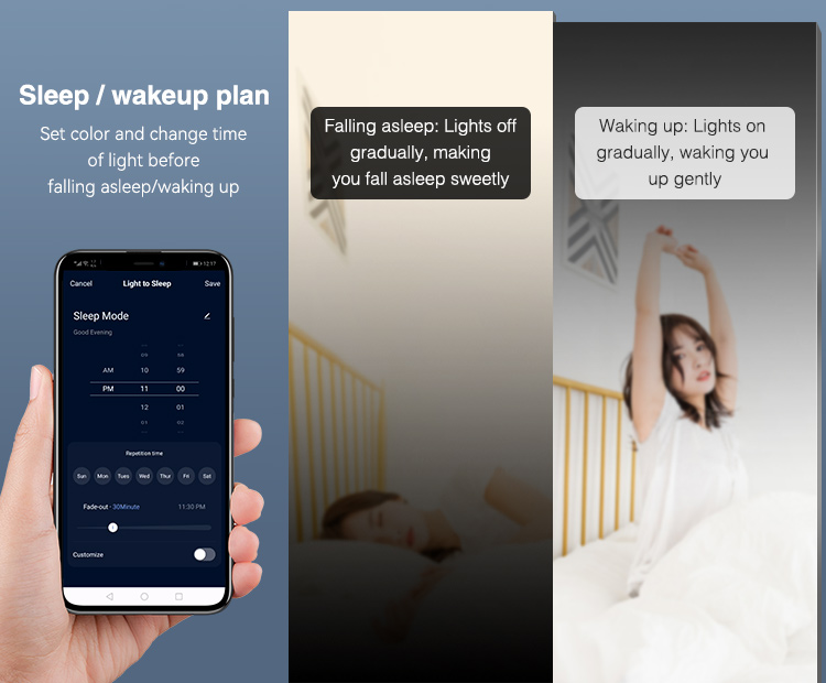 switch ON lights when you wake up switch them OFF when you go to sleep automatically