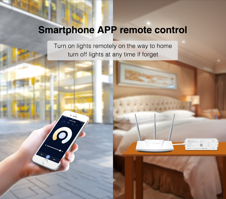 smartphone app remote control Mi-Light controller connected to home WiFi router
