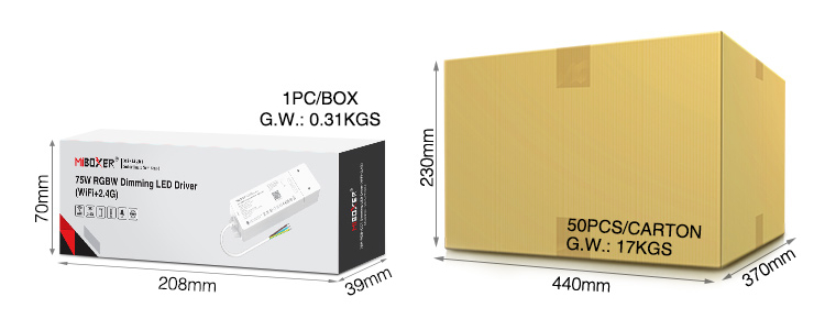 MiBoxer 75W RGBW dimming LED driver (WiFi+2.4G) WL4-P75V24 retail box and wholesale packaging trade account