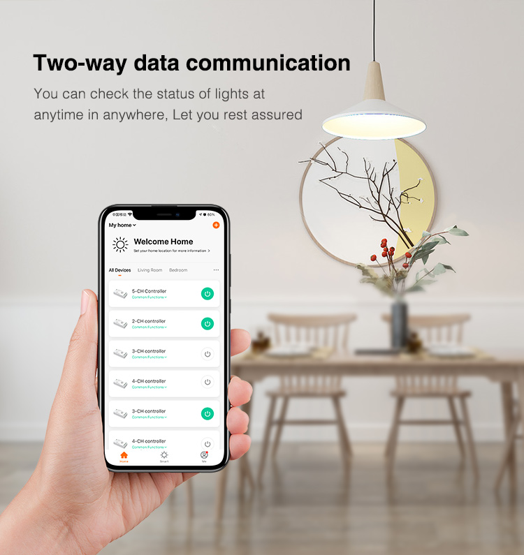 control LED strip via mobile phone application smart life or tuya smart