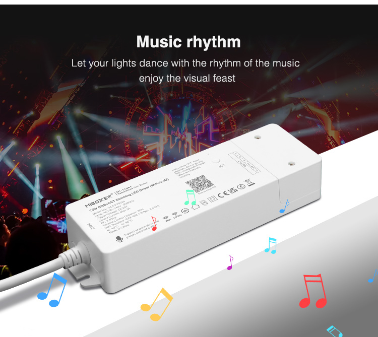 music control for LED lighting strips enable disco mode flashing strobe change colours