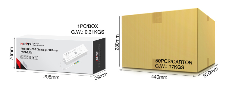 MiBoxer 75W RGB+CCT dimming LED driver (WiFi+2.4G) WL5-P75V24 UK stock wholesale packaging quick shipping