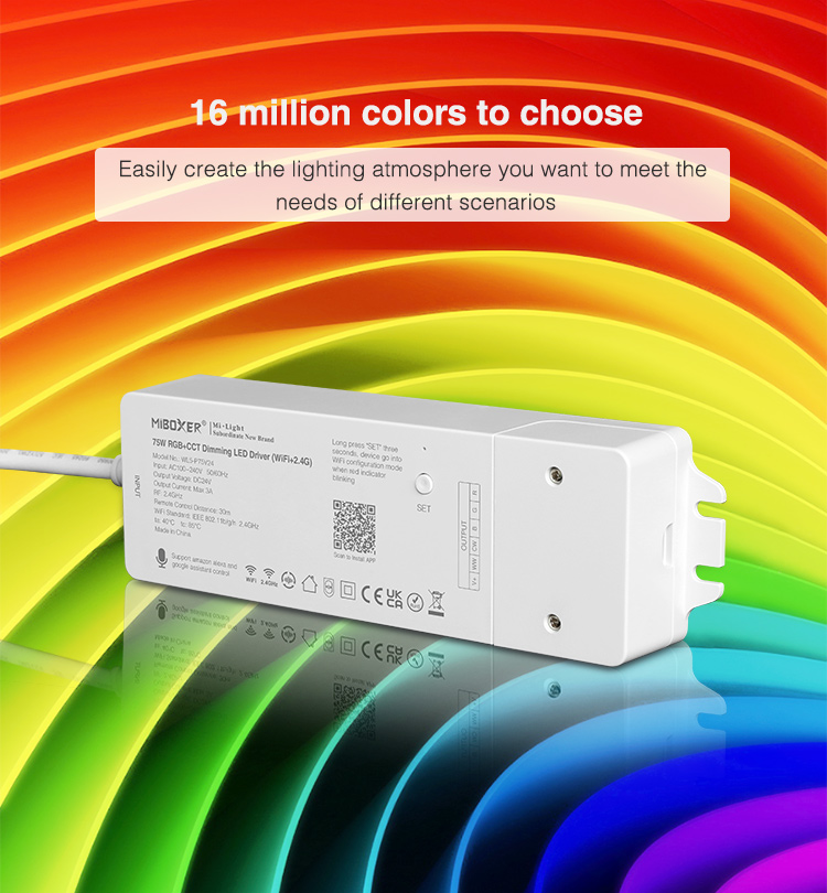 get any colour you want on your LED tape compatible with RGBCCT ribbons