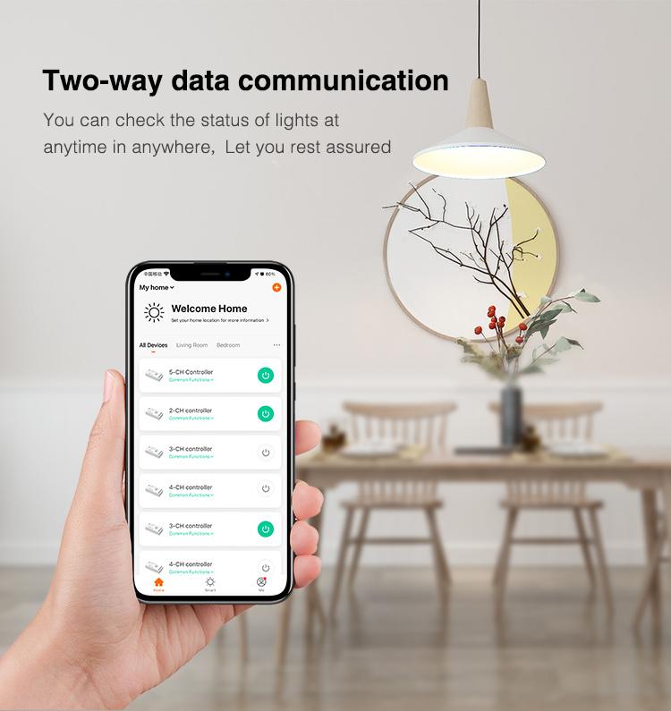 control your RGBCCT LED light strips via mobile app Tuya Smart MiBoxer Smart and Smart Life application