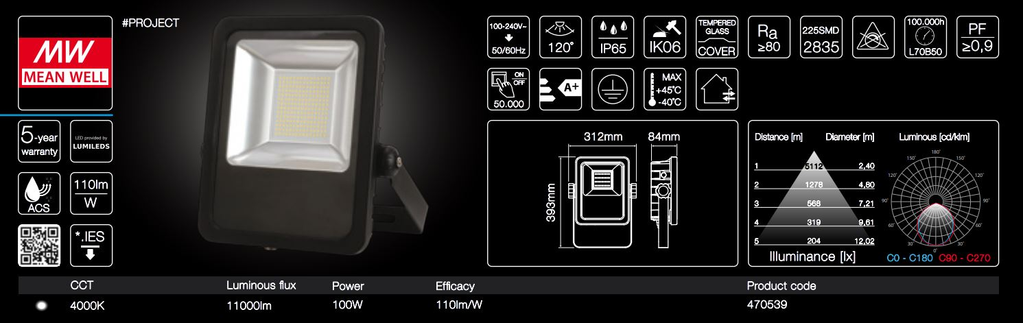 100W LED line® PROJECT floodlights 110lm per Watt neutral white IP65