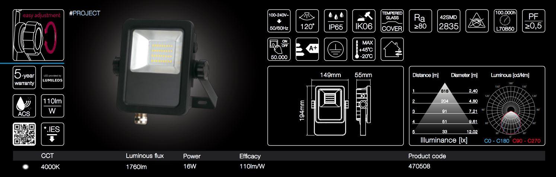 16W LED line® PROJECT floodlights 110lm per Watt neutral white IP65
