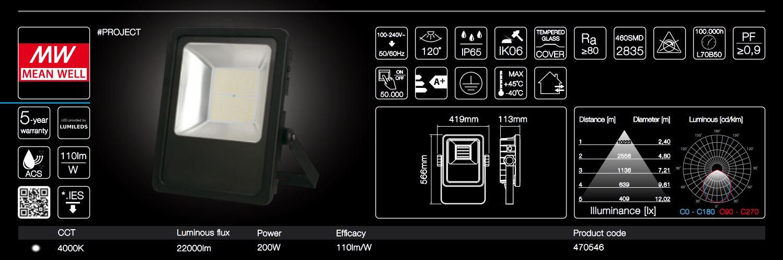 200W LED line® PROJECT floodlights 110lm per Watt neutral white IP65