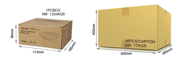 Mi-Light 25W RGB+CCT smart LED garden lamp FUTC05 package includes packaging cardboard box