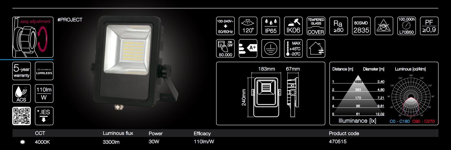 30W LED line® PROJECT floodlights 110lm per Watt neutral white IP65