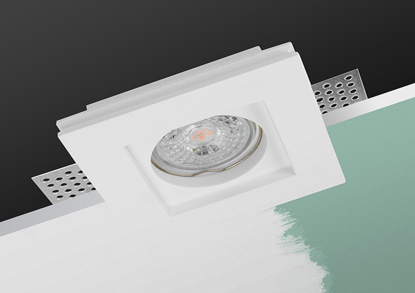 LED line® GU10 plasterboard recessed ceiling downlight PAVO white final effect mounting installation design