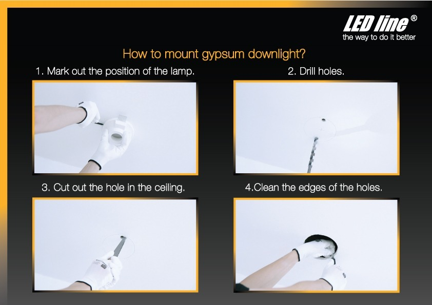 how to mount gypsum downlight? mark out the position of the lamp drill hole