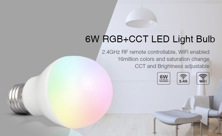 6W RGB+CCT LED light bulb 2.4GHz RF remote controlled Wi-Fi enabled 16 million colours and saturation change
