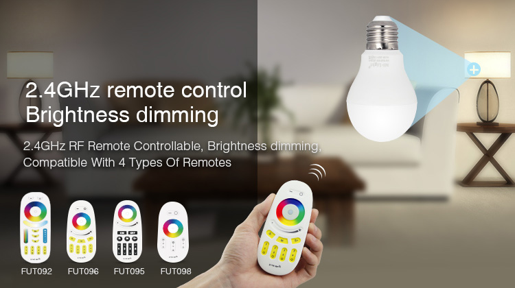 2.4GHz remote control brightness dimming smart LED bulb compatible with remote controllers