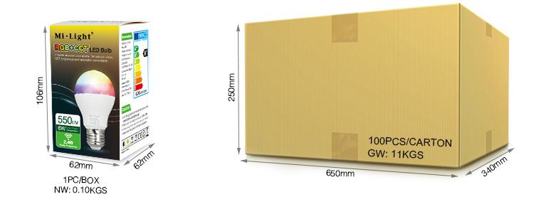 Mi-Light 6W RGB+CCT LED light bulb FUT014 wholesale box retail packaging product dimensions