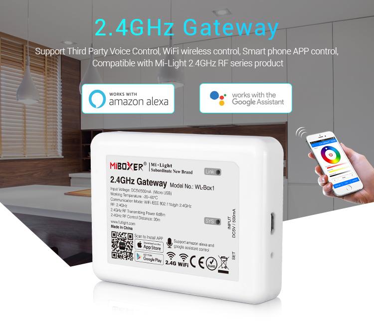Mi-Light 2.4GHz gateway WL-Box1 Support third party voice control