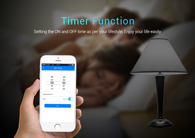 Mi-Light 2.4GHz gateway WL-Box1 timer function settings to switch the lights on and off