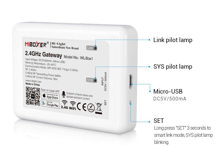 Mi-Light 2.4GHz gateway WL-Box1 features description