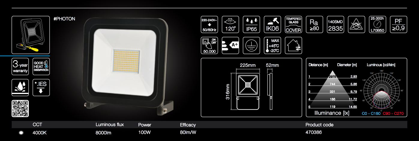 100W IP65 4000K neutral white garden light surface installation on your back wall