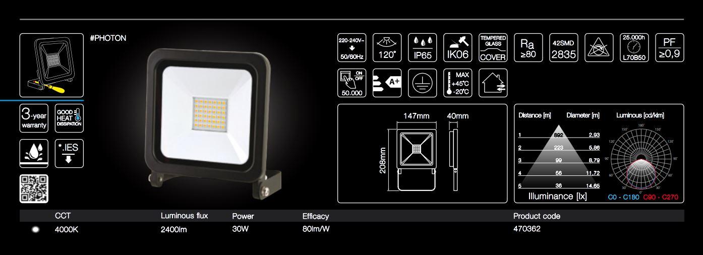 30W LED garden light neutral white light