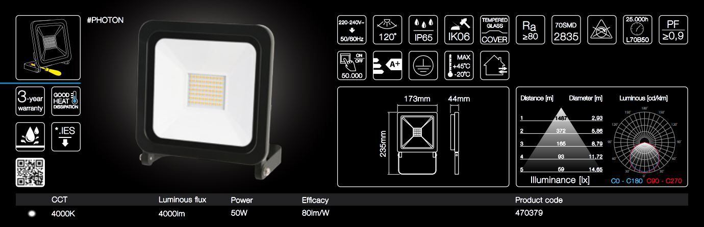 50W high-quality outdoor LED floodlight easy installation