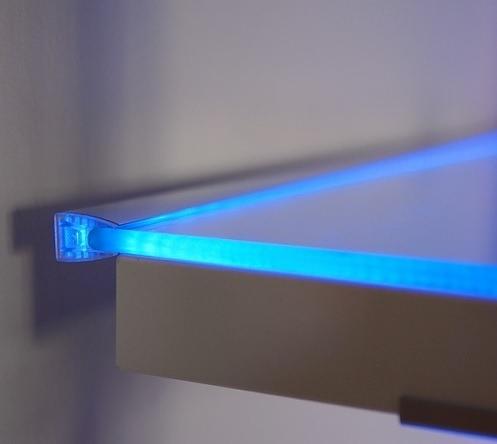 TOPMET anodised aluminium glass LED profile MIKRO10 silver blue shalving