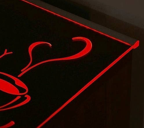 TOPMET anodised aluminium glass LED profile MIKRO10 silver red shelving
