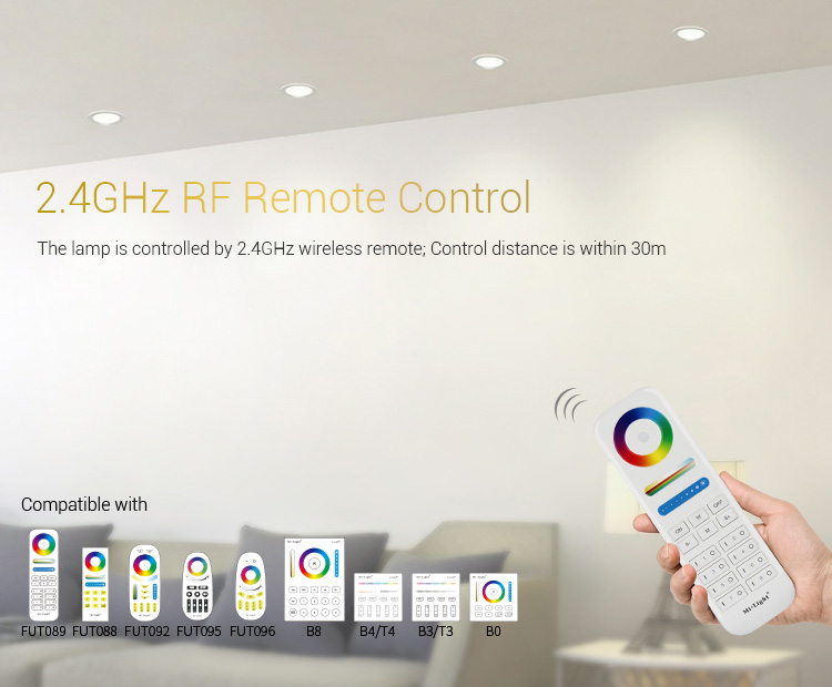 Mi-Light 9W RGB+CCT LED downlight FUT061 compatible remote controllers wall panels