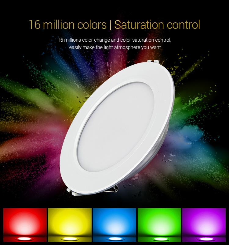 Mi-Light 9W RGB+CCT LED downlight FUT061 16 million colours multi-white