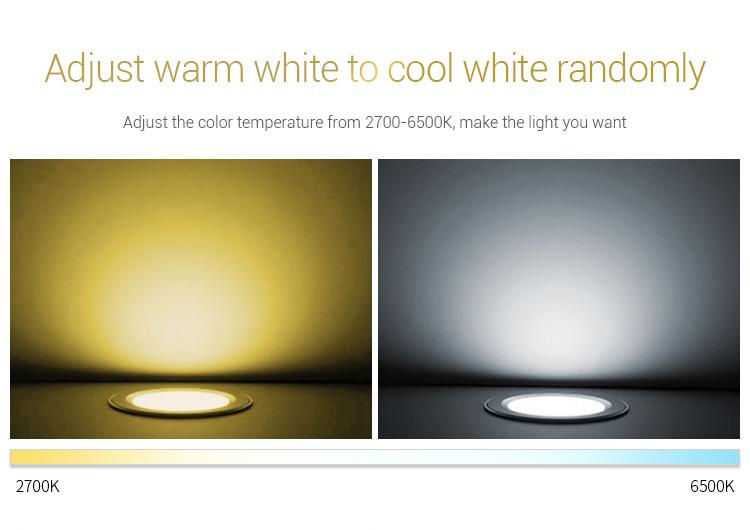Mi-Light 9W RGB+CCT LED downlight FUT061 warm neutral cold white adjustable