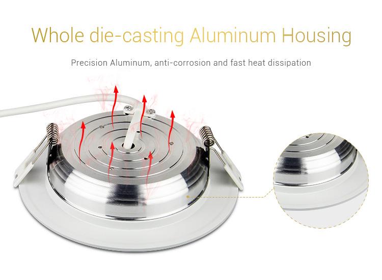 Mi-Light 9W RGB+CCT LED downlight FUT061 aluminium housing case body