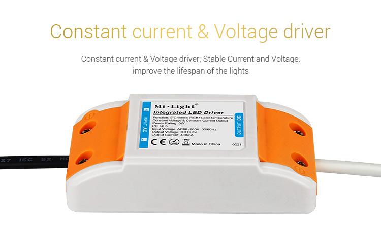 Mi-Light 9W RGB+CCT LED downlight FUT061 power supply LED driver